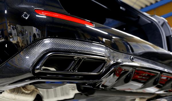 AMG E63純正リアカーボンディフューザー+マフラーテールエンド